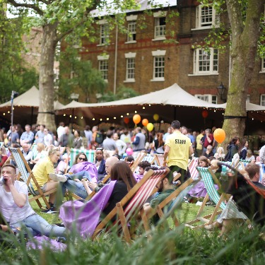 Marylebone Summer Fayre festival bar in Paddington Street gardens